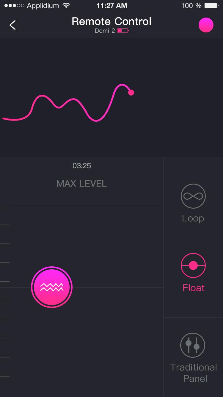 Screenshot de l'application Lovense Remote : Ecran de contrôle de la vibration, appuyer et glisser.