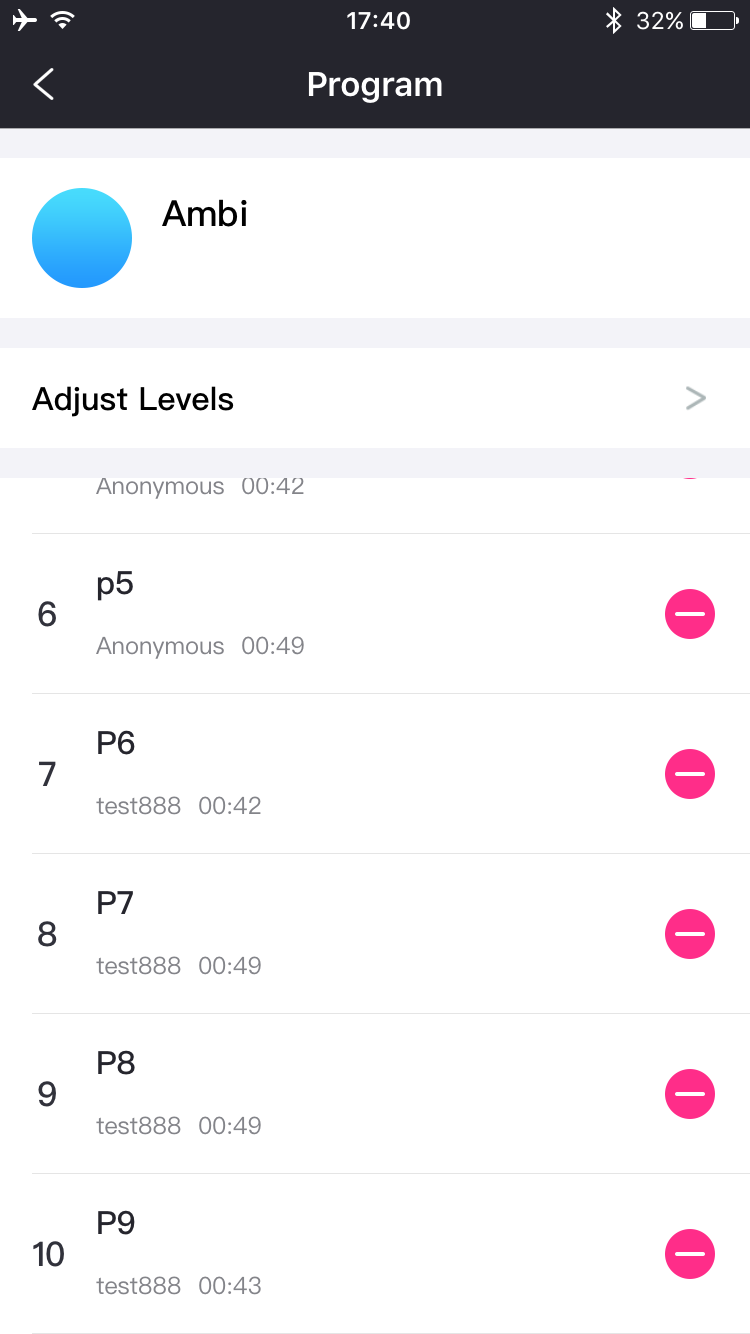 Lovense Remoteアプリのスクリーンショット:10パターンまで