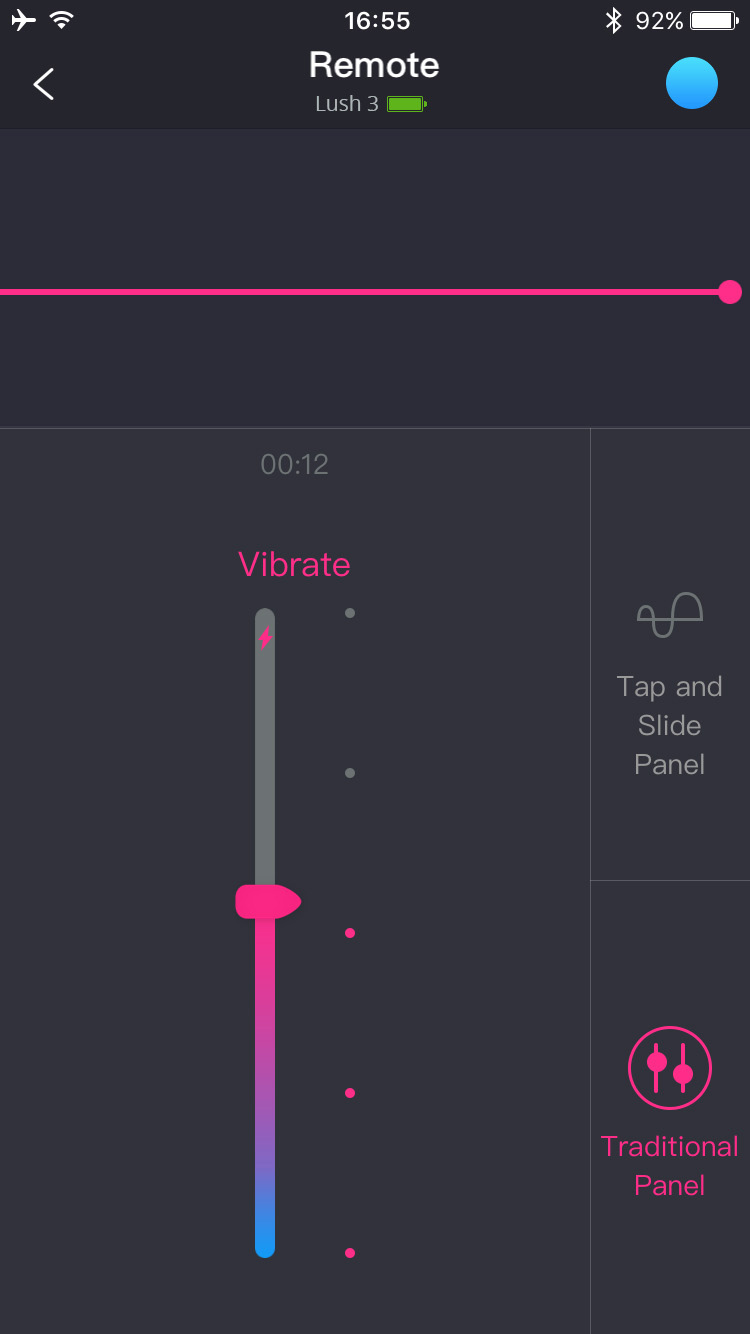 The Lovense Remote app screenshot: tap and slide remote control.