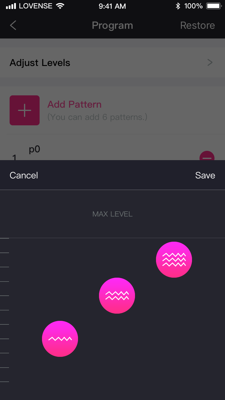 Captura de pantalla de Lovense Remote: 3 niveles estables.